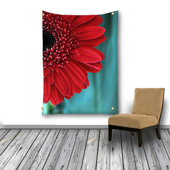 Red Flower Tapestry Wall Hanging Red and Teal by InLightImagery a DigiColorCreations.com member!
