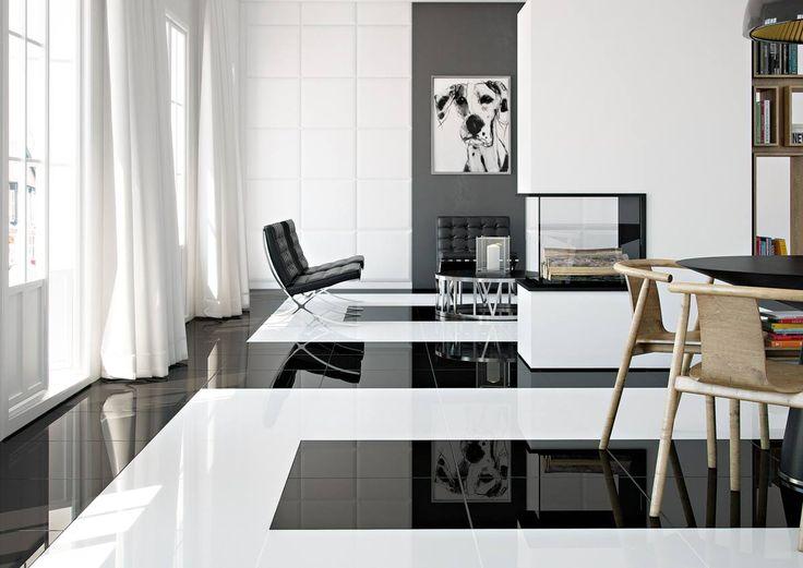 Velkoformátové rektifikované dlažby Pure In v černé a bílé barvě   Série dlažeb   SIKO KOUPELNY