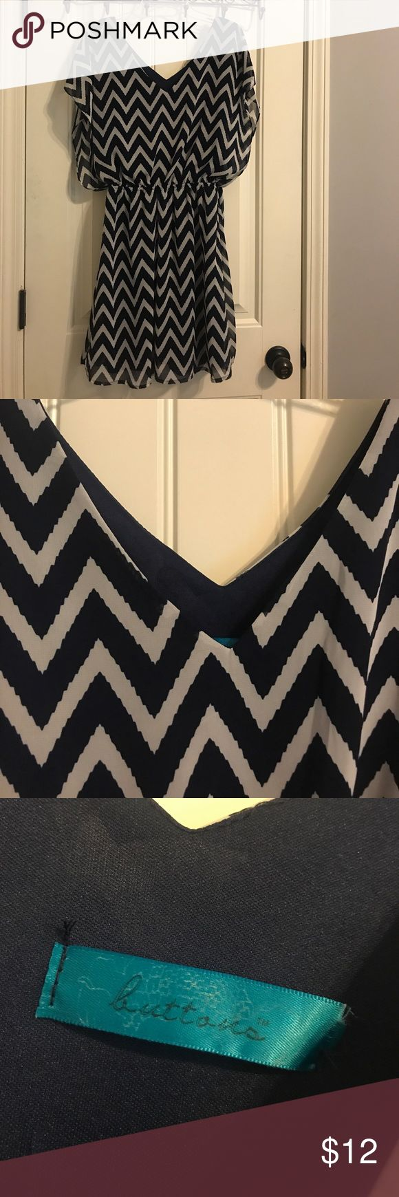 Blue chevron dress The label is cut out but it's a hand wash size large! Other than that it is in great condition Dresses