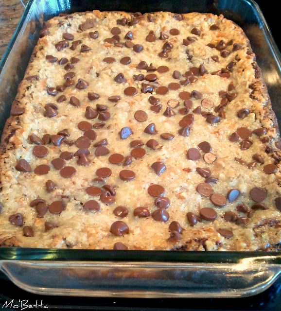 German Chocolate Cake Bars- Devil's food cake mix, 1/2 c. butter (melted), 1 lg. egg-- 14 oz can sweet condensed milk, 1 t. vanilla, 1 egg, 1 c. chopped pecans, 1 c. shredded coconut, 1/2 c. choc chips--- Mix cake mix, butter, and egg. Press into bottom of 9x13. Bake 7 min (won't look done). Mix milk, vanilla, egg, pecans, and coconut. Pour over crust and sprinkle w/ choc chips. Bake 25-30 min until light gold brown.