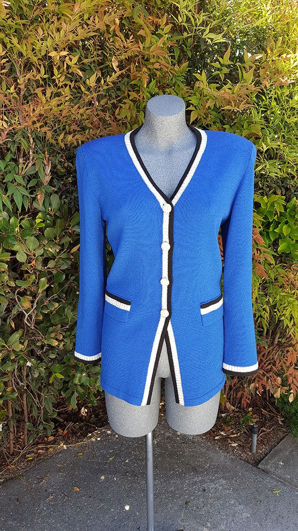 Vintage Cardigan Sweater, Button Up Classic Cardigan, Blue, Jewel Buttons, Knit Sweater, Wool & Rayon, Anjelia, Toula, 1990s Style, Size 10 by StyleStingyVintage on Etsy