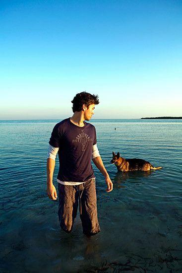 Enrique Iglesias and his dog.