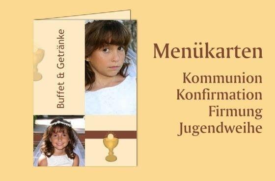 Menükarte zur Kommunion mit Foto drucken lassen  #Konfirmation #Kommunion #Menükarten #Speisekarten