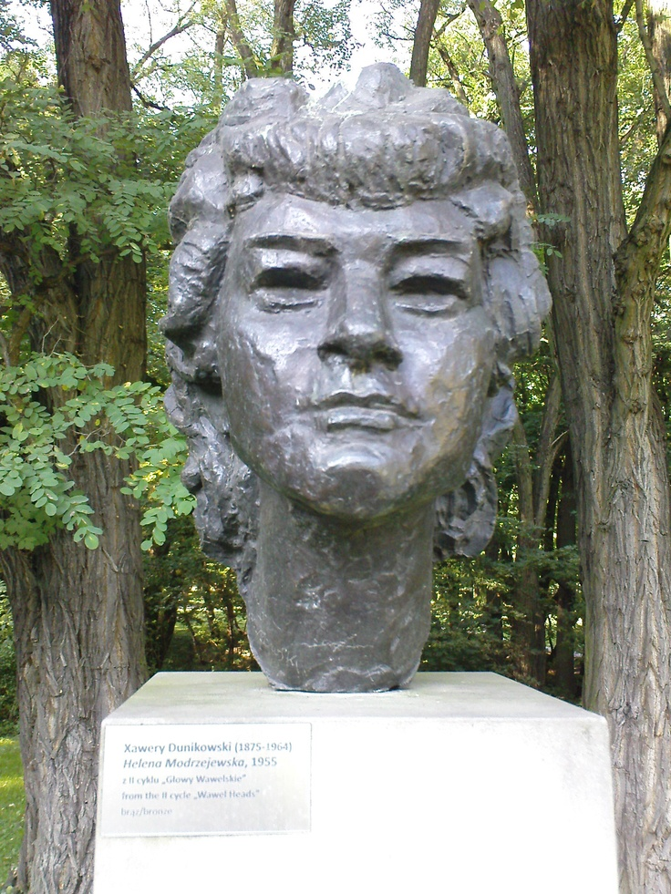 xawery dunikowski, helena modrzejewska (z cyklu: głowy wawelskie), 1955, brąz, królikarnia-warszawa