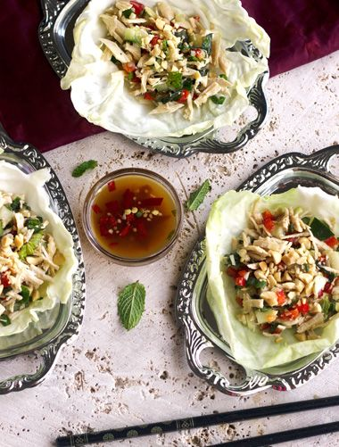 Larb Gai Lettuce Wraps {Low Carb, GF, Low Fat, High Protein and Low Calorie} - Food Faith Fitness.. maybe but no fish sauce for me