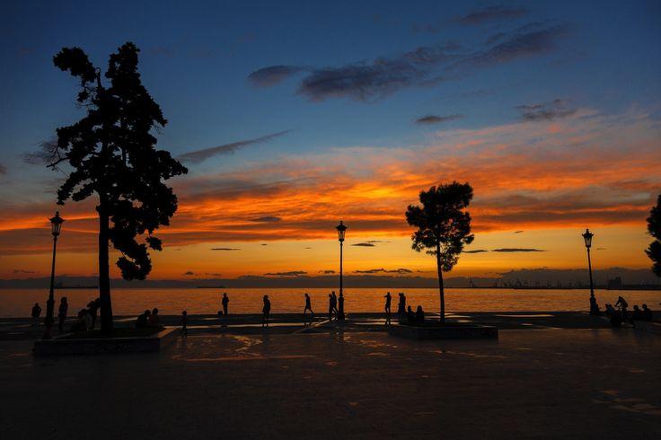 The seaside of Thessaloniki during sunset