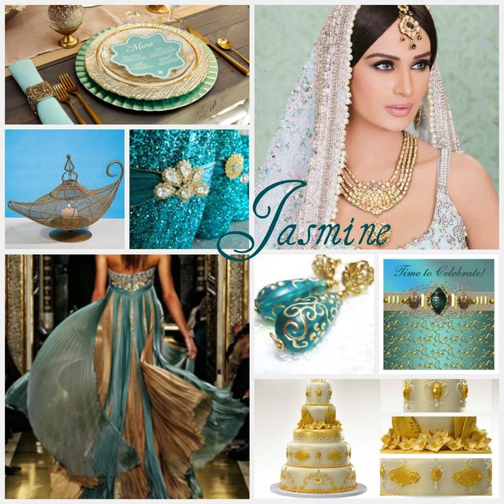 "Wedding ideas for Princess Jasmine include a very ""Middle Eastern"" theme, with teal/turquoise and gold as the primary colors. These gorgeous turquoise and gold glitter heels are a must have for any..."