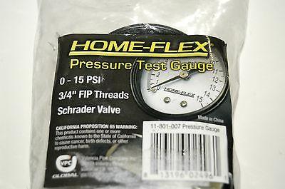 """Home Flex Pressure Test Gauge 0-15 PSI 3/4"""" FIP Threads Schrader Valve"""