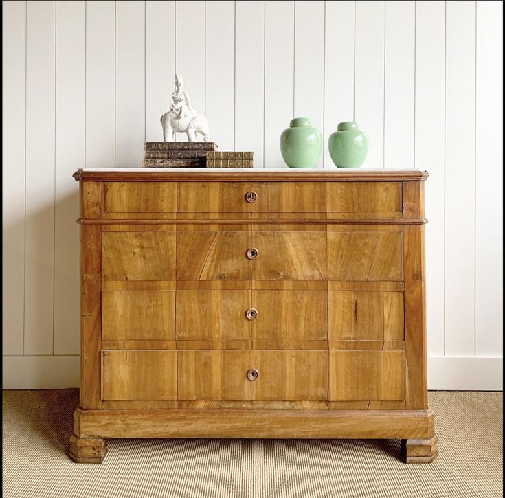 A french fruitwood veneered chest of drawers dresser c1860