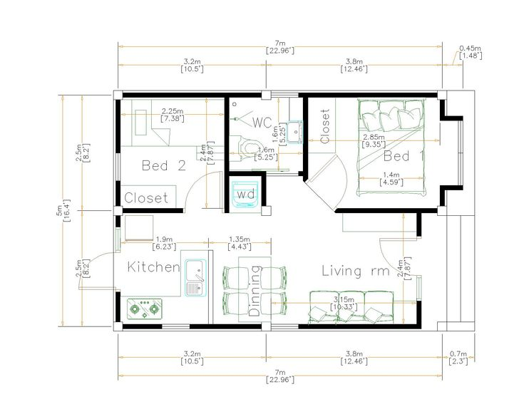 Small House Plans 5x7 Meters 35sq M 2beds House Plans 3d Small House Design Small House Plans Small House Sample floor plan for small house