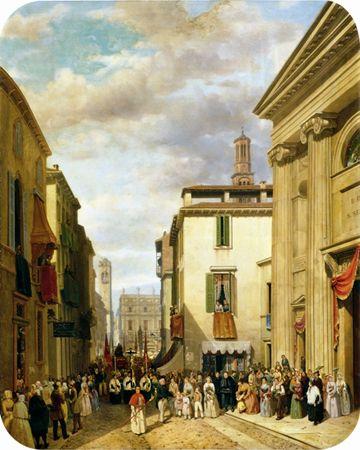 """Ercole Calvi - """"Via Cappello a  San Sebastiano"""" (1850), cm.80 x 59,5 olio s/tela - Verona, Fondazione Cariverona."""