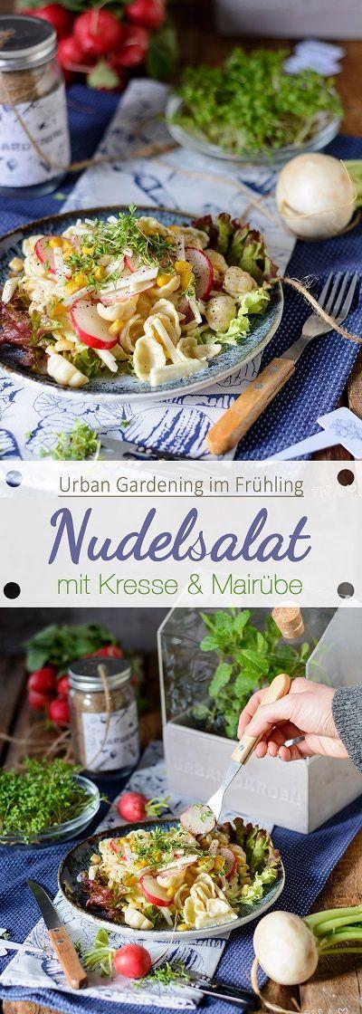 Urban Gardening: Nudelsalat mit Kresse und Mairübe /// Noodlesalad with cress and mai beet