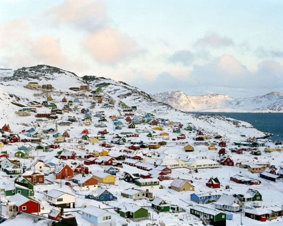 snowy town of qaqortoq, Greenland - The colorful houses are so pretty: