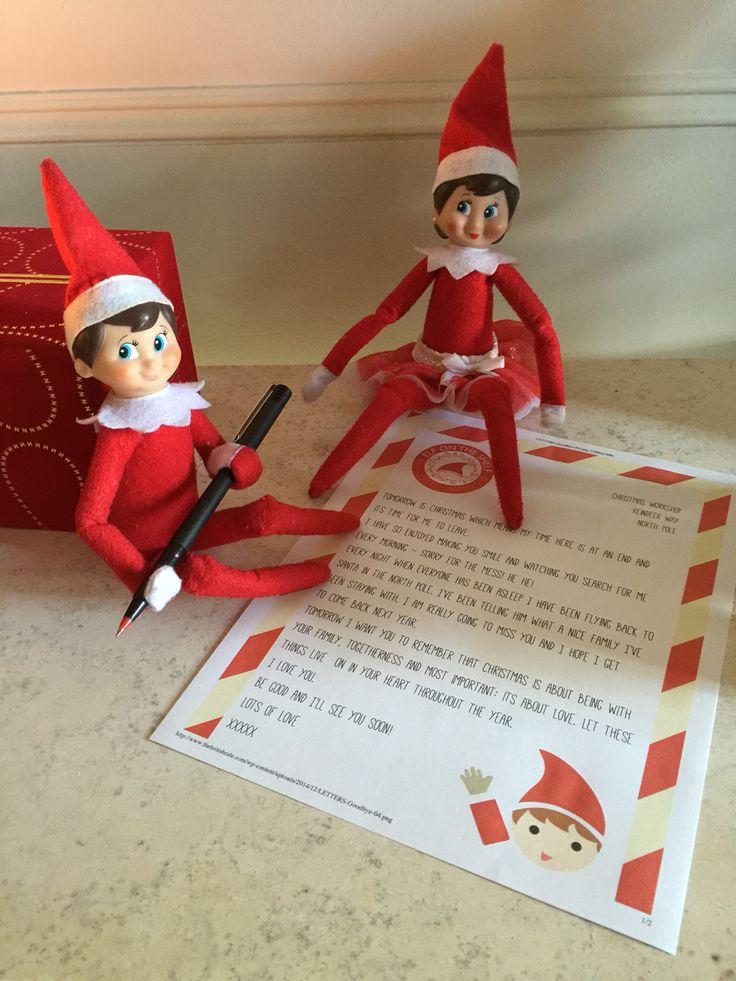 Goodbye letter from the Shelf Elves.