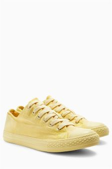Yellow Baseball Canvas Lace-Up Trainers (403235) | £22