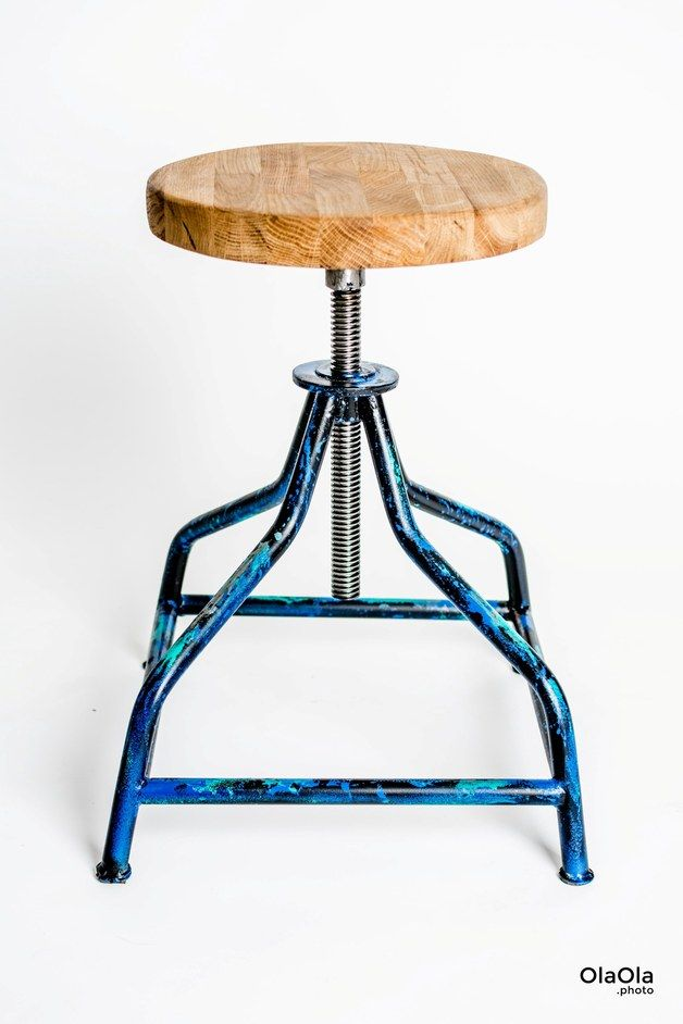 Industrial Style: Klassischer Drehhocker mit Rahmen in türkis-blau-schwarz / height-adjustable stool in industrial style made by Flying Chairs via DaWanda.com