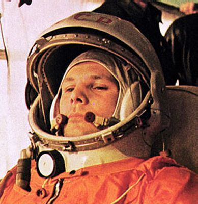 April 12, 1961, Russian cosmonaut Yuri Gagarin became the first human in space.