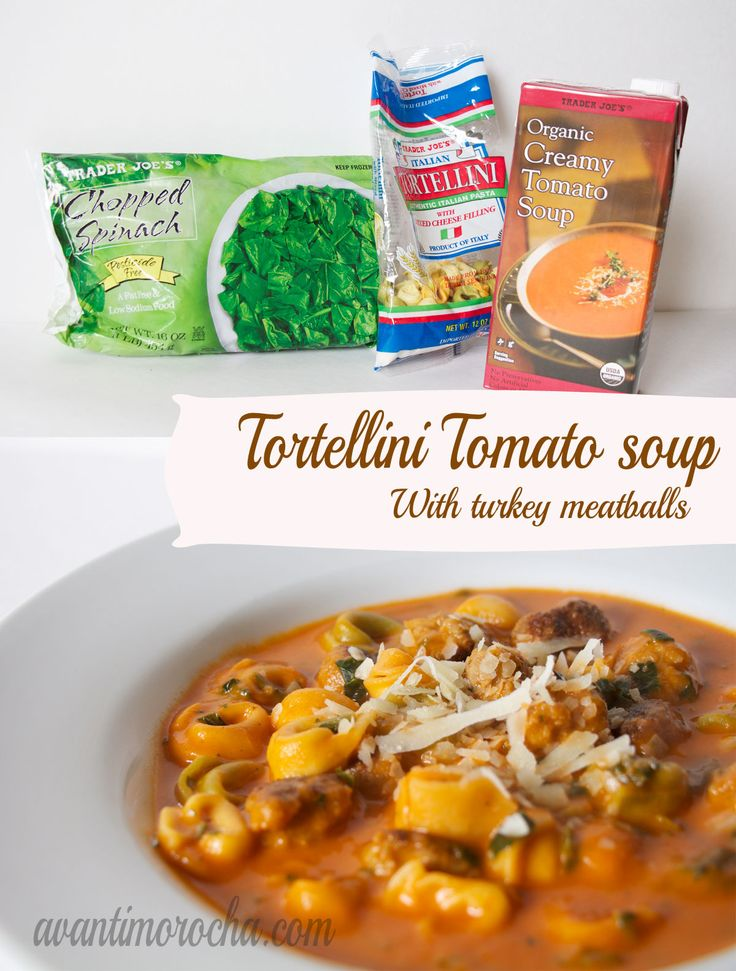 This is an easy dinner. Simply make the tortellini as instructed by the package. It should be a little Al dente because it will continue cooking when you put it in the tomato soup. Just before the Tortellini is ready heat the soup then add the tortellini to it. Last, add some the frozen spinach. Optional: Add some meat to the soup. When this picture was taken I made the meal with turkey meatballs.