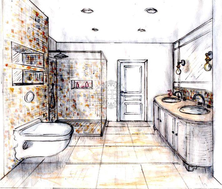 Эскиз. Ванная комната. Общая площадь 12м2