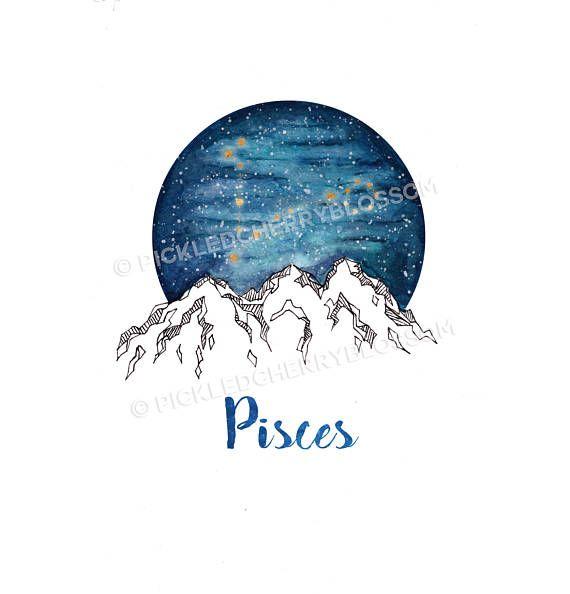 Pisces Zodiac Watercolour Painting