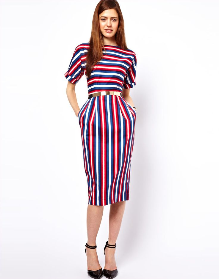 Image 1 of ASOS Wiggle Dress In Stripe Print Perfect for Triangles / Pears  - horizontal stripes, with slash neck and sleeves that stop at your  slimmest area ...