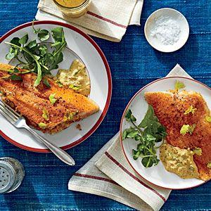 "Crab-Stuffed Catfish Fillets with Cajun Rémoulade   MyRecipes.com....zac browns ""eat and greet"" dish"