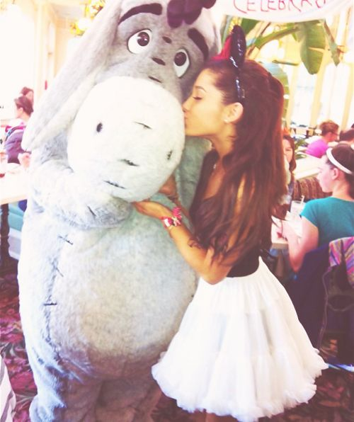 This picture is perfect my favorite singer and actress with my favorite cartoon character. I also have a pic on my phone of eeyore and me :).