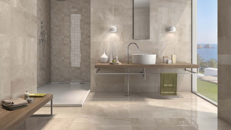 Kashmir Hueso 30x30 polished (floor) + 24x24 and 3x3 mosaic (walls) #pamesa