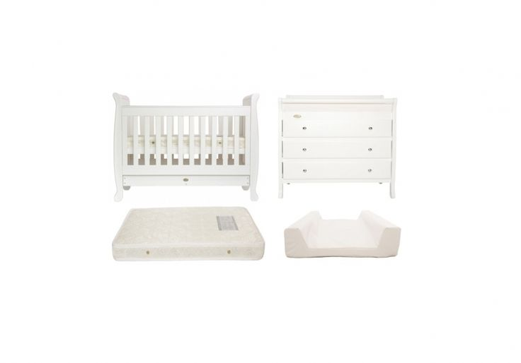 White Bundle 4 - COTS4TOTS - Includes the 5 in 1 Sleigh Cot, 3 Drawer sleigh change table, cot mattress and change mattress