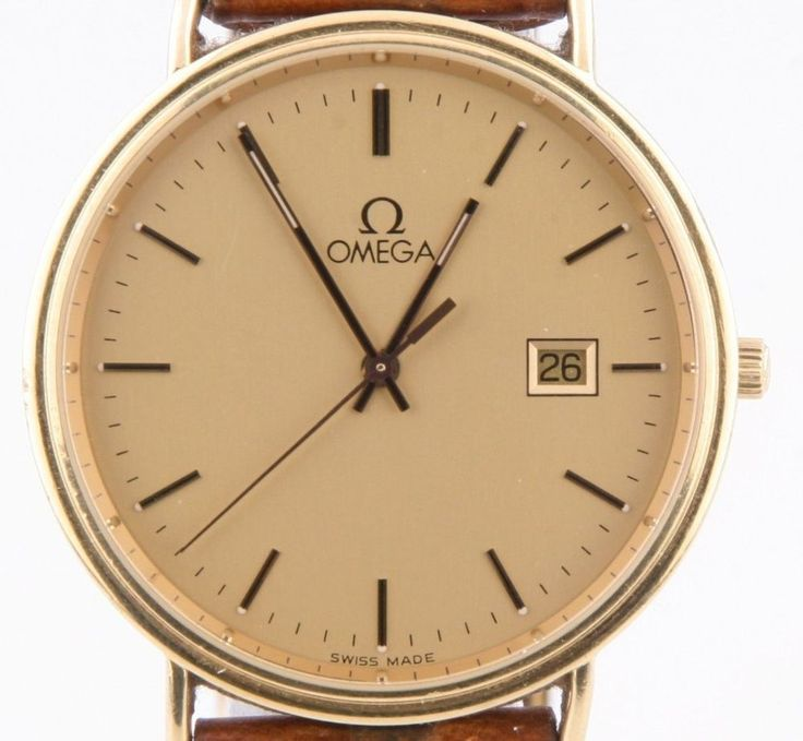 Men's 18k Yellow Gold Omega Quartz Watch w/ Brown Leather Band + Date Feature #Omega #Dress