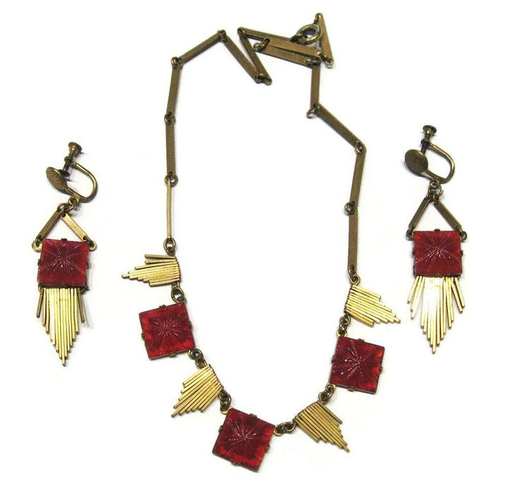 #2135a Brass Carnelian Deco Fringe Necklace Earrings Set Exclusively at RubyLane