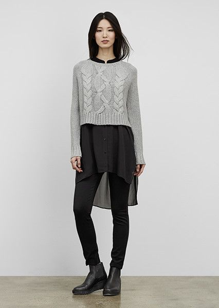 EILEEN FISHER New Arrivals: Cable Knit Box-Top, Sleeveless Silk Tunic, Ponte Slim Pant + Chelsea Bootie
