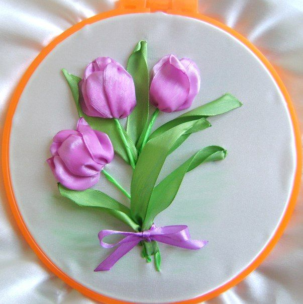 Вышивка лентами МК Мастер класс Цветы из лент | ВКонтакте