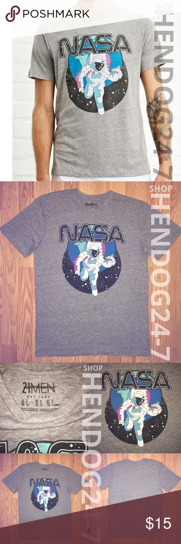 FOREVER 21 MEN'S NASA GRAPHIC SHORT SLEEVE TEE NEW WITHOUT TAGS • NEVER WORN • OVERSTOCK ITEM, LINE THROUGH INSIDE BRAND LABEL/TAG   FOREVER 21 MEN'S NASA GRAPHIC TEE - HEATHER GREY TEE - CREW NECK - SHORT SLEEVES - FINISHED HEMS - 50% POLYESTER, 37% COTTON, 13% RAYON - WASH COLD - MADE IN GUATEMALA Forever 21 Shirts Tees - Short Sleeve