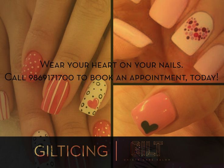 GILT Salon Nails Valentine Special #Nailart #nails with #hearts #Valentines Day #ValentineWeekSpecial #notd