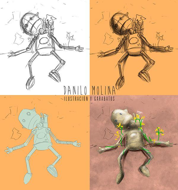 "Avance de ilustración digital en proceso.  #ilustration #concept #robot #space #soul #digital #machine ""Transición"" on Behance"