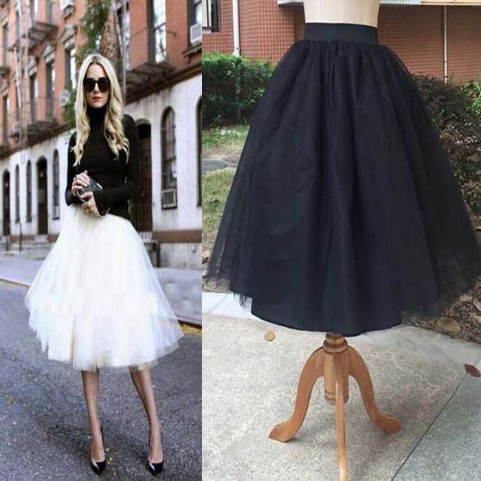 Puff Women Chiffon Tulle Skirt High waist Midi Knee Length plus size Tutu Skirts #Unbranded #Pleated