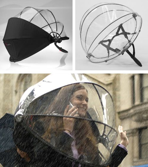 Nubrella is the 21st century umbrella. It is handsfree and the aerodynamic design blocks the wind and rain.
