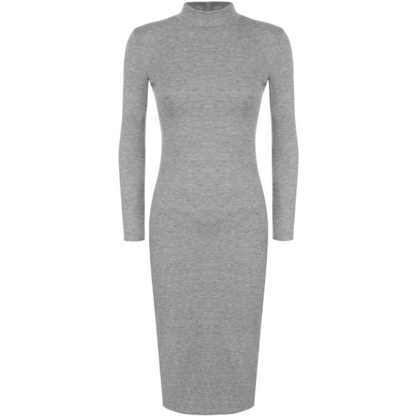 WearAll Long Sleeve Turtleneck Bodycon Midi Dress ($14) ❤ liked on Polyvore featuring dresses, grey, midi dress, grey midi dress, long sleeve turtleneck dress, grey dress and bodycon dress