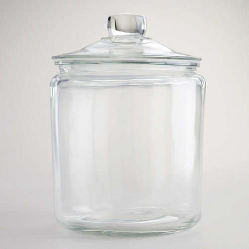 One of my favorite discoveries at WorldMarket.com: One-Gallon Glass Storage Jar.  Use for canister