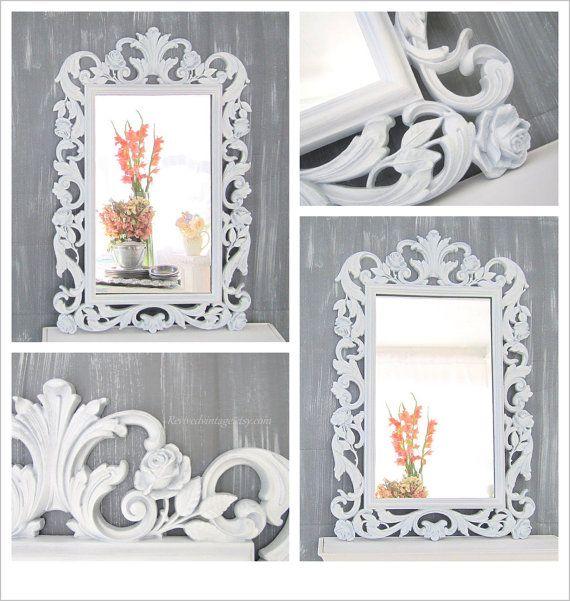 "Baby Nursery Mirror NURSERY WALL DECOR 30""x19"" Unique Decorative Shabby Chic Nursery Baby Vanity Mirror White Framed Mirror"