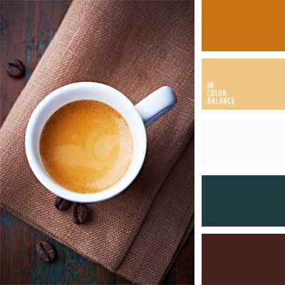 The color palette number 845  turquoise, emerald color, shades of brown, caramel color, color coffee color crema coffee, color, chocolate color.