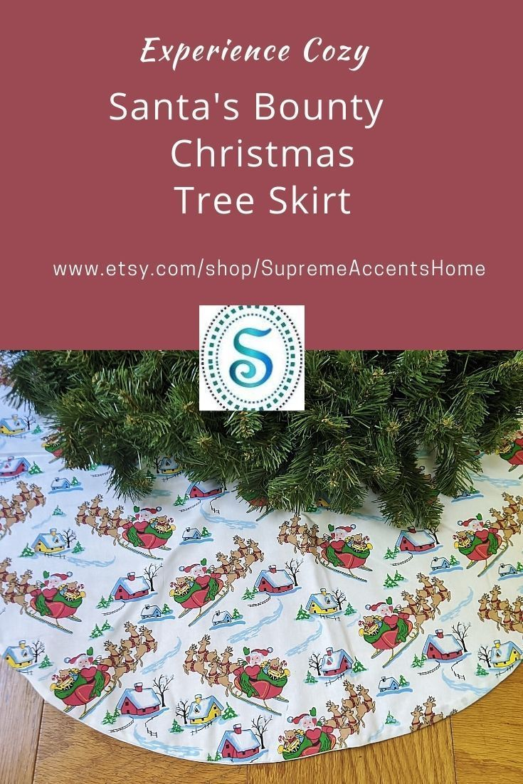 Holiday Skirts 2020 Christmas Santa's Bounty Tree Skirt 36 inch Handmade tree skirt Holiday tree