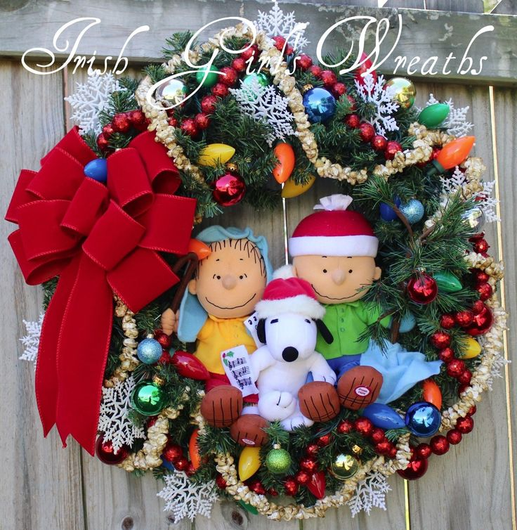 Made to Order Peanuts & Charlie Brown Christmas Wreath with Shepherd Linus Snoopy and Charlie Brown.