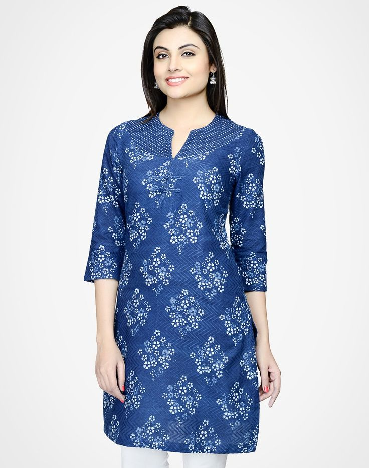 Cotton Printed Raised Neck Short Yoke Mini Kurta