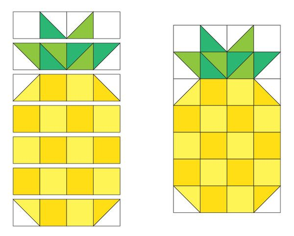 "Over a year ago, we made a mini pineapple quilt based on a pillow we saw on Instagram and shared the pattern with Dear Stella Fabrics. We reduced the size of the pieces and made a mini quilt that finishes 8-1/2"" x 11-1/2"". Here is a step-by-step tutorial to make one of your very own! Materials Needed assorted yellow scraps assorted green scraps 1/8 yard of solid white 1/8 yard of black & white stripe for binding 11"" x 14"" scrap for backing Cutting Instructions From the assorted yellow scr..."