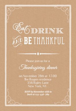 Eat Drink And Be Thankful - Free Printable Thanksgiving Invitation Template | Greetings Island