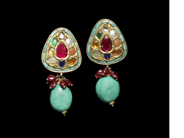 A pair of gem-set Navaratna gold Earrings India, 20th Century(2)