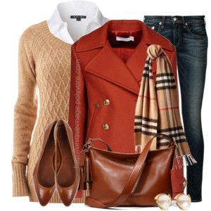 white shirt, tan v neck sweater, skinny jeans, and scarf, blazer
