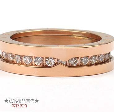 bvlgari bzero1 one band ring in 18kt pink gold with pave diamonds